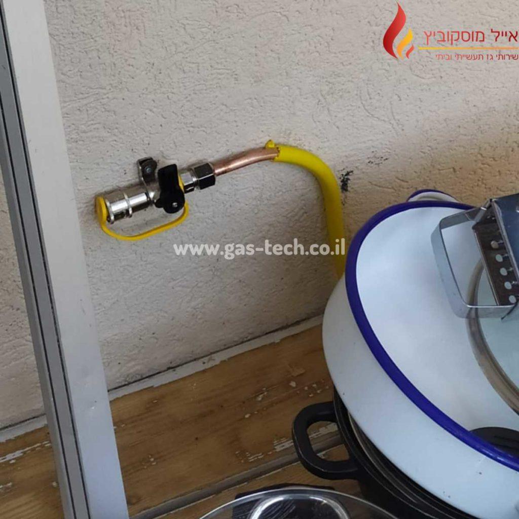 התקנת נקודת גז בחצר בית פרטי